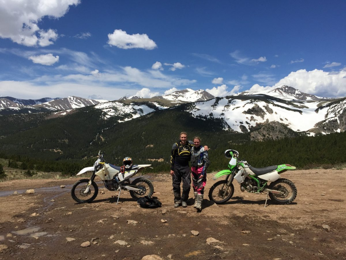 At the top of a trail outside of Central City, with St. Mary's Glacier in the background. One of the toughest, rockiest trails I've ridden to date but also one of the most rewarding!